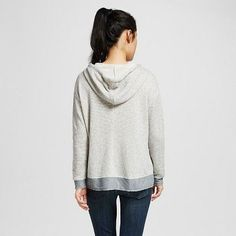 Women's Double Pocket Stripe Sweatshirt Hoodie Loofah-Grey Pebble/Dark Ash L - Miss Chievous(Juniors'), Multicolored