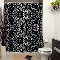 Silent Era Black Shower Curtain by JanetAnteparaDesigns on Etsy, $65.00