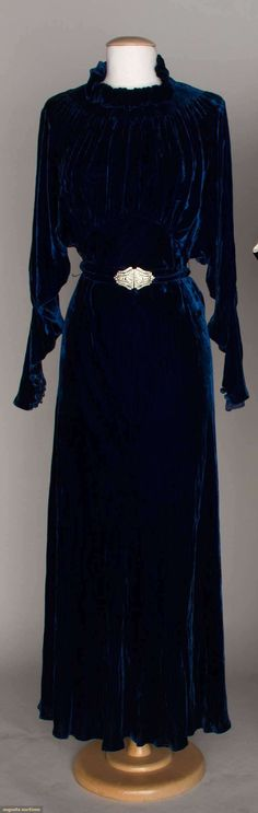 1930 navy blue, high ruffled collar, long sleeves & rhinestone belt buckle