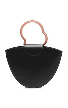 This **Dante Lente** bag is rendered in leather and features a half circular silhouette and structured handles.