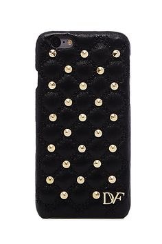 iPhone 6 Studded Quilted Leather Case in in Black
