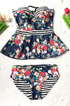 Sheinlove Floral Printing Two-piece Swimsuit - New Arrival XXL Size