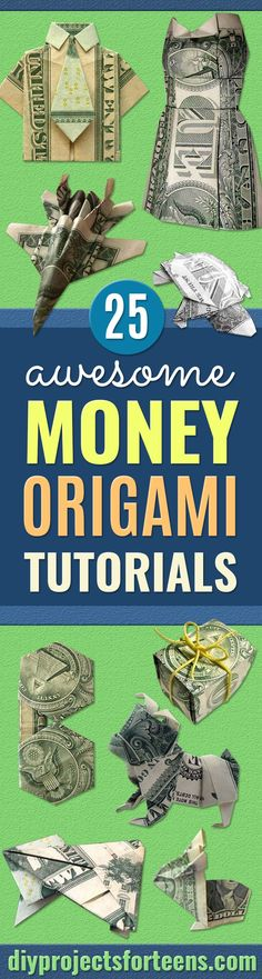 DIY Money Origami - Step by Step Tutorials for Star Flower Heart Buttlerfly Animals. Tree Letters Bow and Boxes - Cute DIY Gift Ideas for Birthday and Christmas Cards - DIY Projects and Crafts for Teens Origami Bow, Origami Wedding, Origami Stars, Origami Flowers, Origami Easy, Snowflake Origami, Origami Dress, Origami Bookmark, Origami Paper