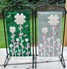 """Bit of Blarney Banner Pattern by Woolkeeper at KayeWood.com. This 6"""" x 12"""" banner can either be done in a bright emerald green hand dyed background or a light green wool called Savannah Tide.  Shamrock flowers, mauve blossoms and buzzing bees complete A Bit of Blarney.   Perfect for your March, St Patrick's Day decorations. http://www.kayewood.com/Bit-of-Blarney-Banner-Pattern-by-Woolkeeper-WK-BIBL.htm $9.00"""