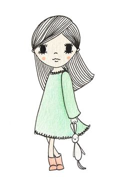 illustration girl | illustratie meisje | www.kinderkamervintage.nl