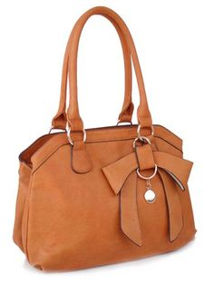Passion Faux Camel Leather Medium Two Handle Shoulder Handbag With Bow Clothing
