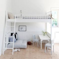 White Scandanavian Loft Bed by Oliver Furniture