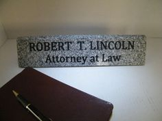 Office nameplatecustom granite nameplate set business card holder desk nameplate stone two line nameplate by rouxspecialties more information more information business card holder colourmoves