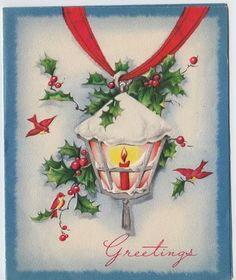 Vintage 1940s Christmas Greeting Card with Red Poinsettias ...