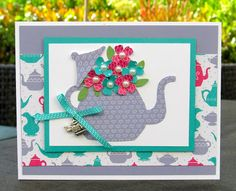 Krystal's Cards: Stampin' Up! A Nice Cuppa - Flower Teapot #stampinup #krystals_cards #anicecuppa #onlinecardclass