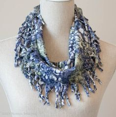 Blue, Grey & Green Burnout Short Knotted Cowl
