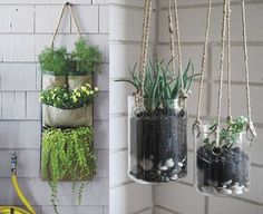 Hanging planters, several types mentioned but I love these glass ones.  Sturdy glass would be needed if one wanted to make their own.  Hand blown containers would be awesome.  Too bad I don't know how to blow glass.