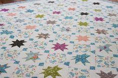 Layer Cake Quilt in Balboa Fabrics by Sherri & Chelsi for Moda Fabrics Card Patterns, Quilt Patterns, Sewing Patterns, Star Quilts, Quilt Blocks, Coastal Quilts, American Patchwork And Quilting, Nautical Quilt, Layer Cake Quilts