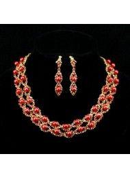 Rode trouwjurk halsketting Set 039