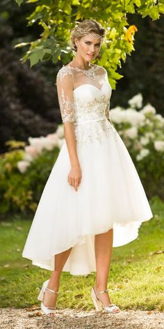 vintage inspired wedding dresses mid length illusion sweetheart neck with  sleeves true bride Vintage Inspired Wedding d574278890ba
