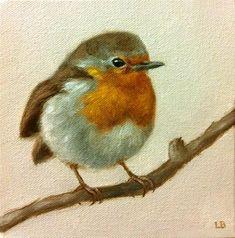 """Little Robin"" - Original Fine Art for Sale - © Larisa Brechun"