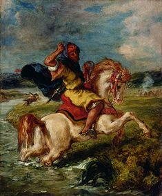 Caballero Marroquí Cruzando un vadi, 1850 - Eugène Delacroix. Orientalismo
