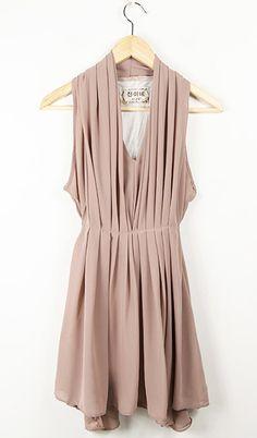 Pink V Neck Chiffon Modern Tank Dress