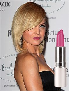 """""""For the girl who wants to invest in one lipstick and wear it to the stub, try a color like Mena Suvari's. This sultry pink shade, like Glo•minerals Lipstick in Raspberry, works on almost any skin tone and is a great day-to-night color. The best part? Mena's pink will be perfect for the fall, too--it's a year-round friendly shade that will brighten your smile with ease."""""""