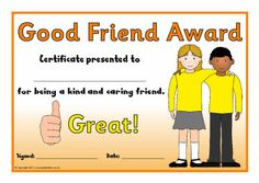 Printable certificates to reward children who exhibit good friendship qualities. Preschool Certificates, Printable Certificates, Award Certificates, Free Teaching Resources, Teaching Ideas, School Clubs, Best Friendship, Social Thinking, After School