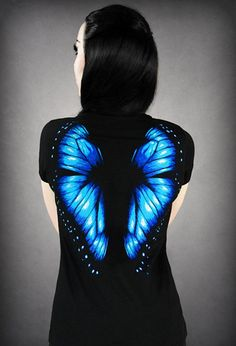 Restyle Butterfly Blue T - Shirt Top Gothic Schmetterling - Girlie: Amazon.de: Bekleidung