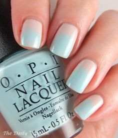 Mint and Nude Ombre manicure