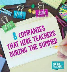 Summer teaching jobs