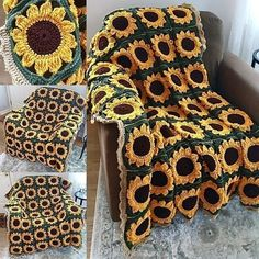 I made this using a modified pattern from momsloveofcrochet its made up of 48 gorgeous sunflower granny squares! Sunflower crochet handmade gift Afghan granny square floral flower summer decor home decor unique blanket cozy outdoor indoor Crochet Diy, Crochet Motifs, Crochet Squares, Crochet Blanket Patterns, Crochet Crafts, Yarn Crafts, Knitting Patterns, Crochet Afghans, Crochet Blankets