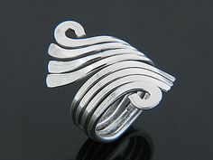 Flat 4 wire curve silver wrap ring (JE092)