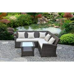 Better Homes and Gardens Gray Island 3-Piece Woven Outdoor Sectional Sofa Set, Seats 5