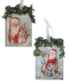 Santa Postcard Ornaments from The Holiday Barn
