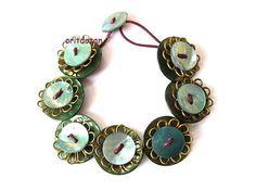 Bracelet button jewelry made of vintage metal by oritdotan on Etsy, $22.00