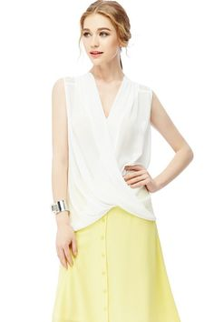 Draped Crossover Sleeveless Blouse with Lace Inset Back - White