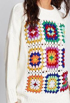 Boho Handmade Crocheted Pullover Sweater - Pullovers Sweater - Ideas of Pullovers Sweater Crochet Lingerie, Crochet Baby Dress Pattern, Crochet Wool, Vintage Embroidery, Crochet Clothes, Pullover Sweaters, Knitting, Handmade, Sweatshirts