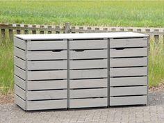 3er Mülltonnenbox Holz, Transparent Geölt Grau, für 120 L + 240 L Mülltonnen