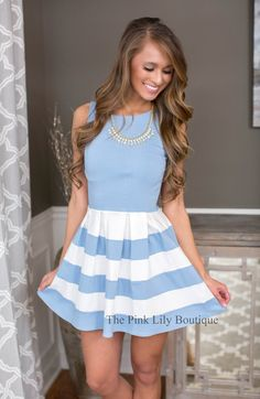 Spring Delight Baby Blue Dress - The Pink Lily Boutique