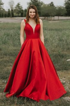 Simple A-line V-neck Satin Long Cheap Red Puffy Prom Dresses with Pocket This dress could be custom made, there are no extra cost to do custom size and color Cheap Red Prom Dresses, Puffy Prom Dresses, Prom Dresses With Pockets, V Neck Prom Dresses, Girls Dresses, Flower Girl Dresses, Dresses With Sleeves, Formal Dresses, Homecoming Dresses