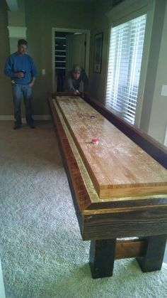 Its Finished And Installed! We Are Helping Our Customer Test It Out. Shuffleboard  TableMen CaveHome ...