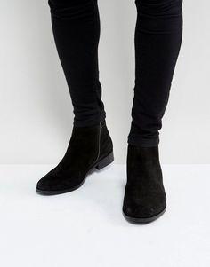 BEN SHERMAN CHELSEA BOOTS IN BLACK SUEDE - BLACK. #bensherman #shoes #