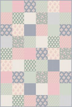 """We have used all 11 fabrics from """"The Summer Fair"""" collection. 54 – 22,5 x 22,5 cm squares + seem allowance makes a large 135 x 202,5 cm qui... Panduro"""