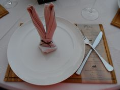 Glam Baby South Africa - Vintage Bunny Theme for Christening, place settings, napkin bunny, wooden placemat