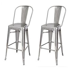 Adeco 2016 New 30 Industrial Chic Metal bar Stool Barstool Chair with High Back Silver Gunmetal Set of Two Grey * Amazon most trusted e-retailer #Barstools
