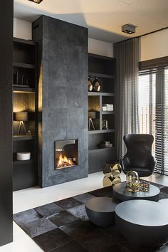 Residential interior design with a luxury / industrial combination, all custom made. Home Fireplace, Modern Fireplace, Living Room With Fireplace, Fireplace Design, Fireplaces, Living Room Interior, Home Living Room, Living Room Designs, Living Room Decor