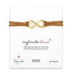 large infinite love gold dipped bracelet on latte leather Usa Gold, Silver Dip, Custom Jewelry Design, Gold Dipped, Love Bracelets, Stacking Bracelets, Jewelry Branding, Sterling Silver Bracelets, Handcrafted Jewelry