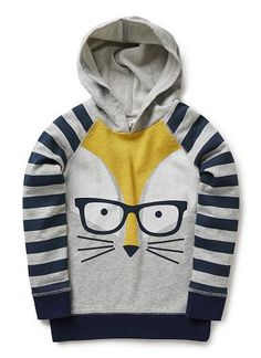 100% cotton french terry hoodie with front fox print and striped sleeves
