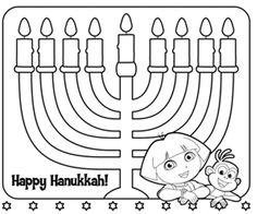Kids can color one flame for each night of Hanukkah!