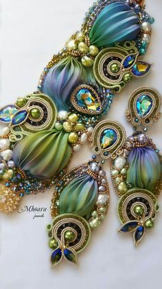 ' Marrakech ' shibori silk , soutache  design by Mhoara Jewels