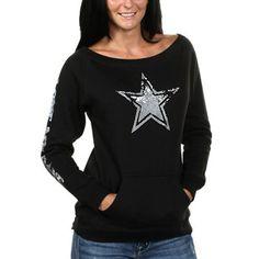 Dallas Cowboys Women's Stardust Fleece Sweatshirt - Black