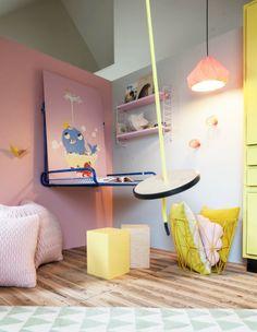 Rafa-kids Swing in wootay colors for kids moodboard Baby Decor, Kids Decor, Ikea Kids Playroom, Playroom Ideas, Nursery Ideas, Creative Kids Rooms, Kids Swing, Kids Corner, Little Girl Rooms