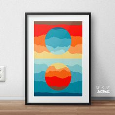 Martian sunset, Art Deco print, deco poster, colorful art, cosmic, mountain poster, colorful landscape, mars print, art deco poster, gifts